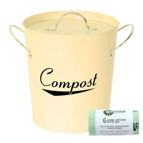 Crème Métal Compost Caddy-déchets alimentaires Bin/&50x6L Sacs compostables