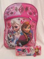 "Disney Frozen 16"" pink backpack rucksack school bag & pencil case set girl"