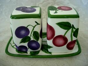 Collectible-Vintage-Cherries-Plums-Salt-amp-Pepper-Shakers-w-Matching-Butter-Plate