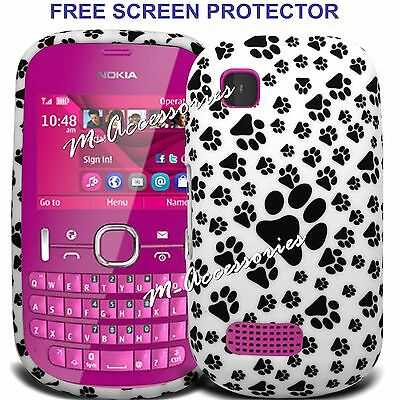 PAWS PRINT FOOTPRINT SILICONE/GEL CASE COVER SKIN FOR NOKIA ASHA 200 / 201
