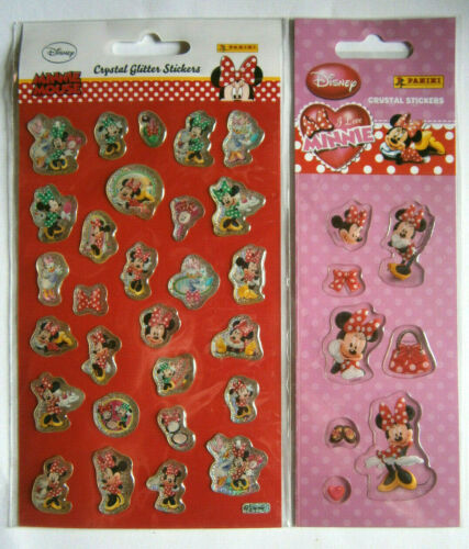Nouveau DISNEY Neuf dans sa boîte STICKER 2 x Minnie Mouse Autocollant CRISTAL PAILLETTES