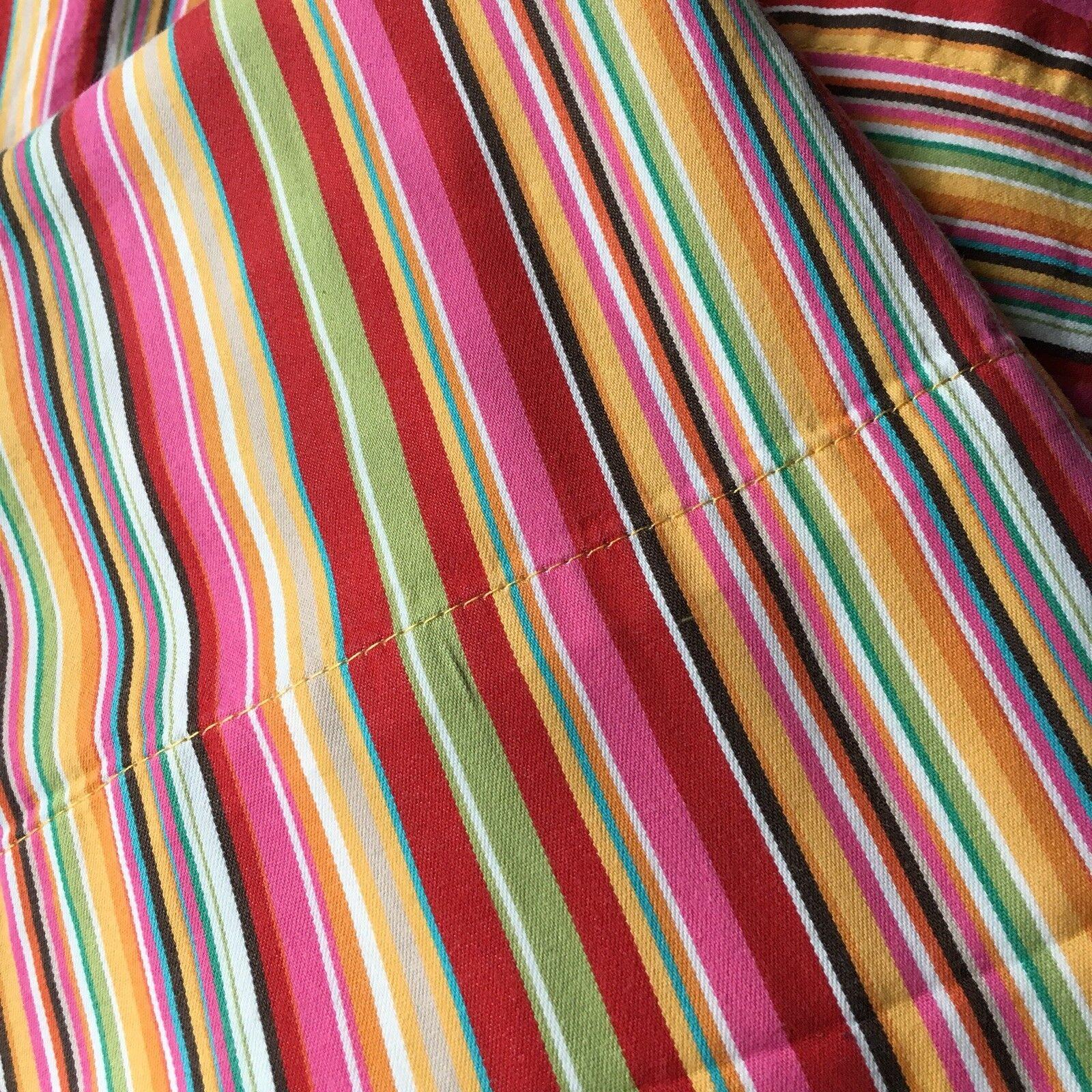 Pottery Barn Twin Sheet Set Stripes Red orange Yellow Pink Portugal