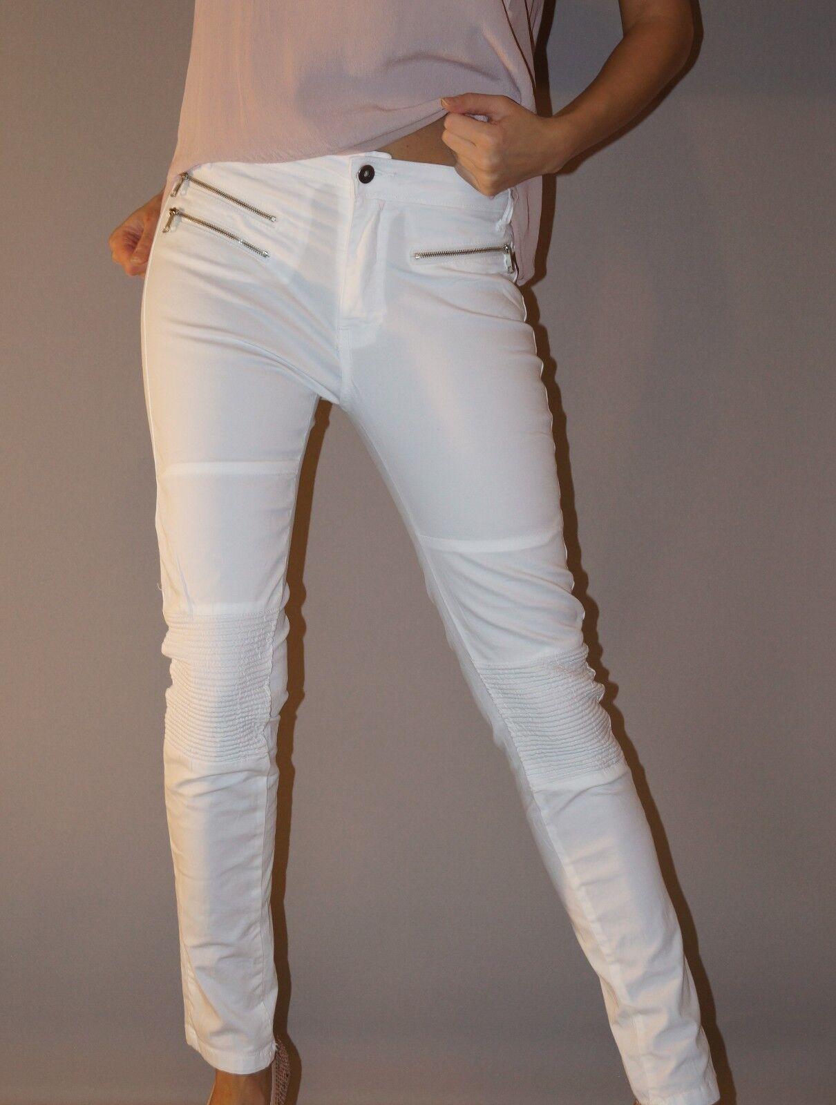 NEU  Jeans Röhren Hose Skinny Biker Style Reißverschluss XL 40 42 Weiß Top
