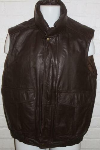 Vintage Eddie Bauer Men's Vest Leather Down Brown