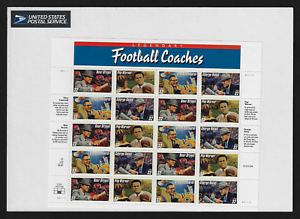 USA-Stamps-Full-Pane-of-20-1997-Football-Coaches-3143-46-MNH