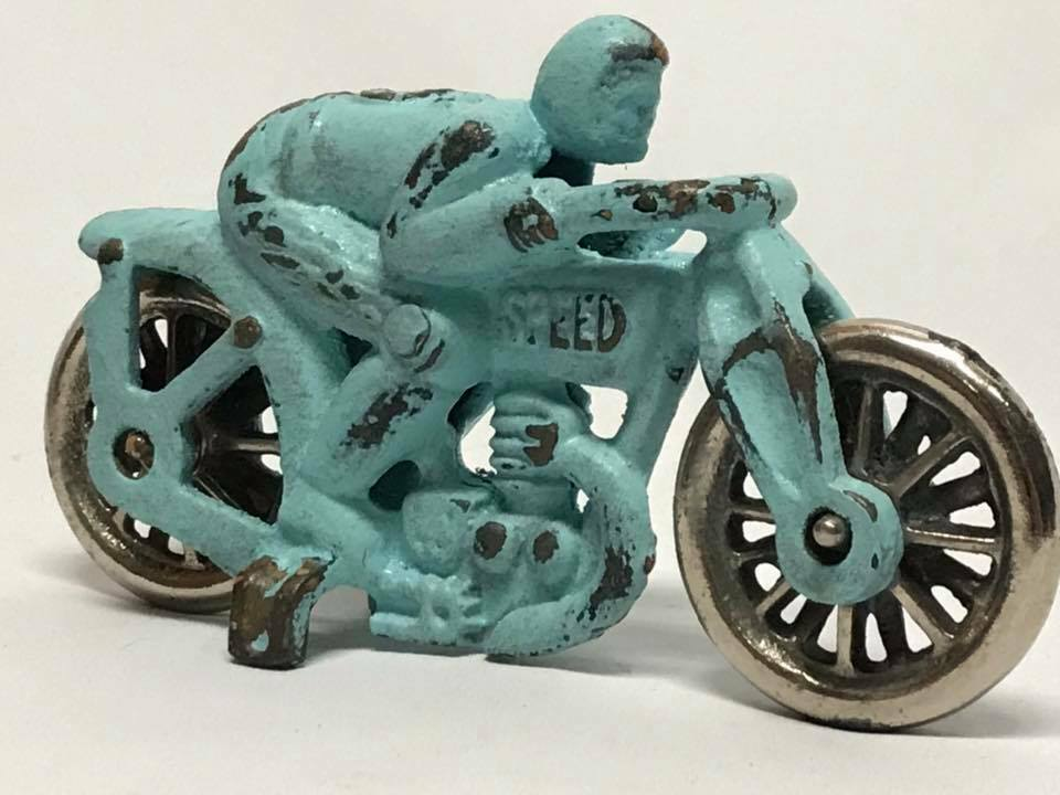 Antique Hubley Cast Iron bluee Speed Motorcycle