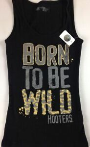 Hooters Tank Top Womens SZ S/M Shirt Waitress Born To Be Wild Leopard Cheetah