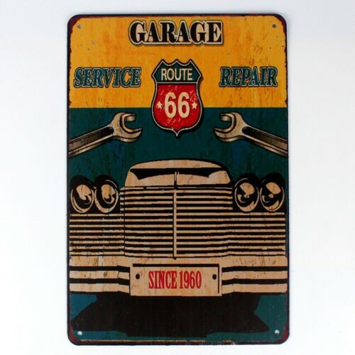 Metal Tin Sign garage service for route 66 Decor Bar Pub Home Vintage Retro