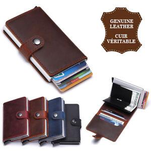 RFID-Porte-cartes-aluminum-et-cuir-gras-veritable-homme-femme-portefeuille