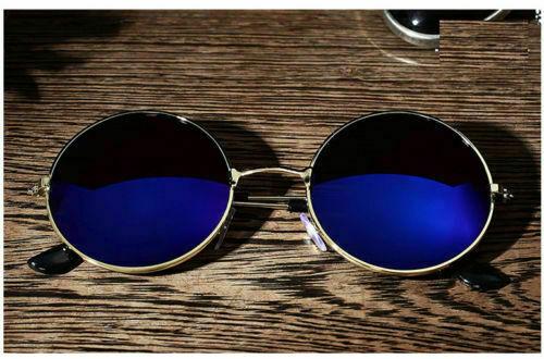 Men Women Retro Vintage Round Mirrored Sunglasses Car Driving Travel Eyewear