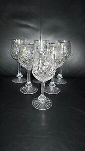 6-Vintage-Elegance-7-1-2-Crystal-Clear-Industries-Wine-Glasses-Water-Globets