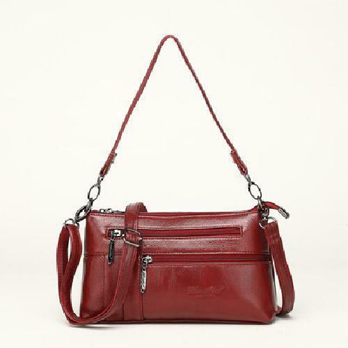 Женские премиум кожаный смартфон муфта большой бумажник с плечевой ремень красный