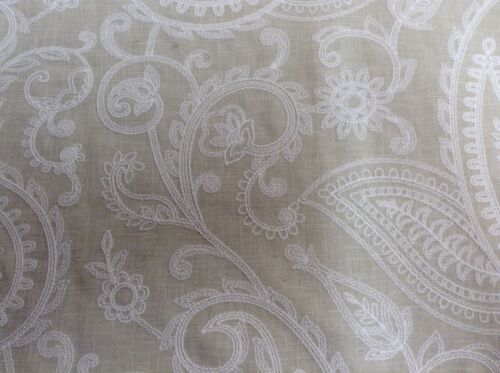 Pearl Shell Embroidered  Linen Fibre Naturelle Curtain//Upholstery Fabric