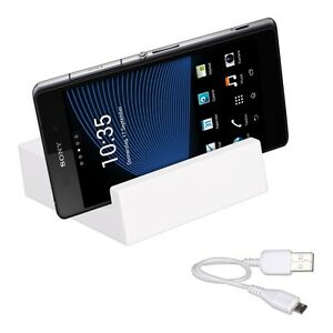 Lade-Station-fuer-Sony-Xperia-Z2-Magnet-Dockingstation-Dock-Weiss-Tisch-Lader