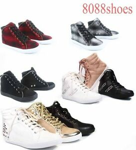 Women-039-s-Cute-Flat-High-Top-Soda-Lace-Up-Fashion-Sneaker-Shoes-Size-5-5-10-NEW