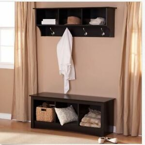 Storage Bench Coat Rack Set Entryway Furniture Wood Black