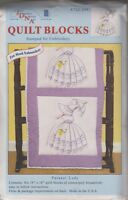 1 Pk Jack Dempsey parasol Lady Stamped Embroidery Quilt Blocks