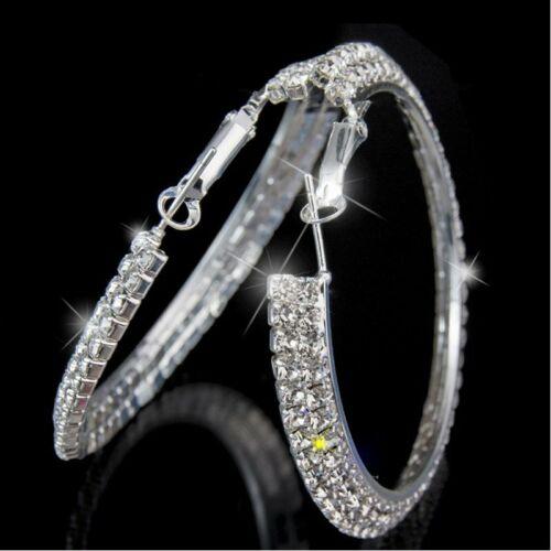 Hot Silver Elegant Crystal Round Circle Hoop Dangle Boucles d/'oreilles femmes cadeau de mariage