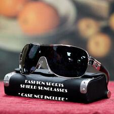 Sports Fashion Men Women Designer Khan Shield Sunglasses Shades UV Silver