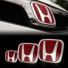 3PCS Fit HONDA CRV SUV JDM Red H Emblem Grille+trunk+Steering Wheel Badge