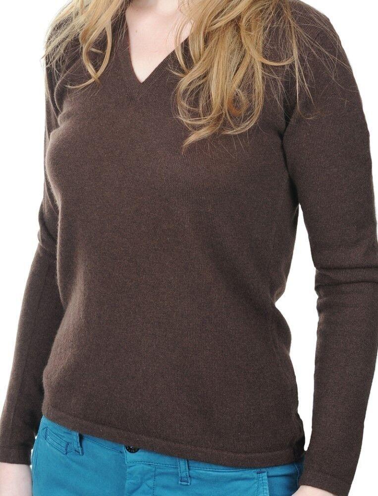 Balldiri 100% Cashmere señora  suéter 2-fädig escote en V cappuccino s  mejor moda