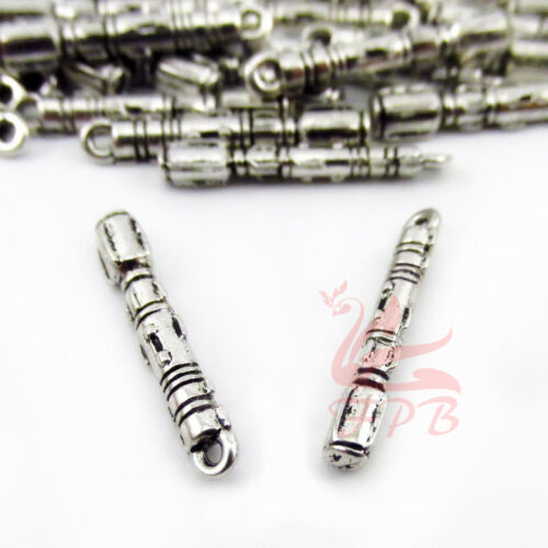 8//15//30PCs Doctor Who Sonic Screwdriver 21mm Antiqued Silver Plated Charms
