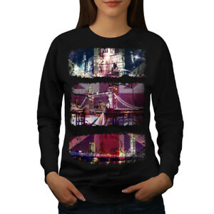 Wellcoda-UK-London-Flag-Womens-Sweatshirt-British-Casual-Pullover-Jumper