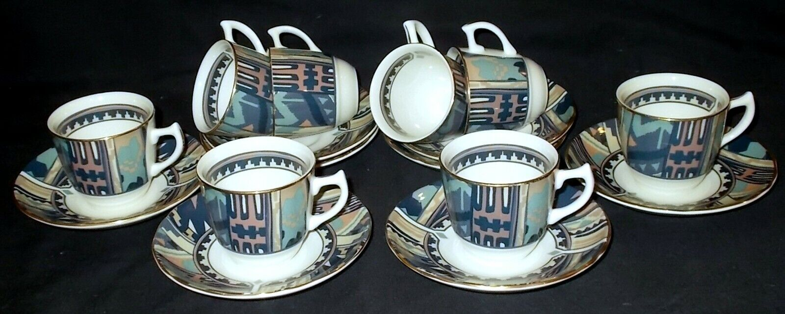 Image 01 - EIGHT Masons Liberty London ZEBAK Coffee Cups and Saucers
