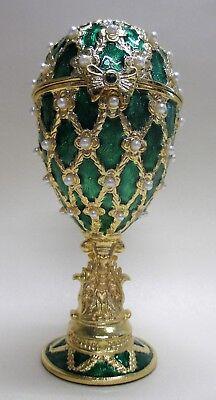 Ornamente mit goldenem Fuß sehr edle Spieluhr im Stil eines Faberge Ei blau