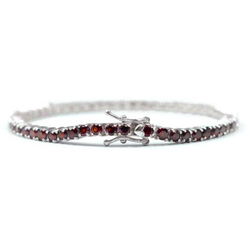Natural Gemstone 925 Sterling Silver 3 mm Ronde Rouge Grenat Tennis Bracelet
