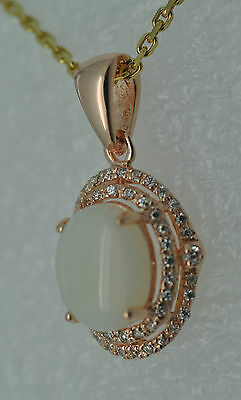 Opal  Anhänger Zirkonia 925 Silber Rot Vergoldet  Sterlingsilber