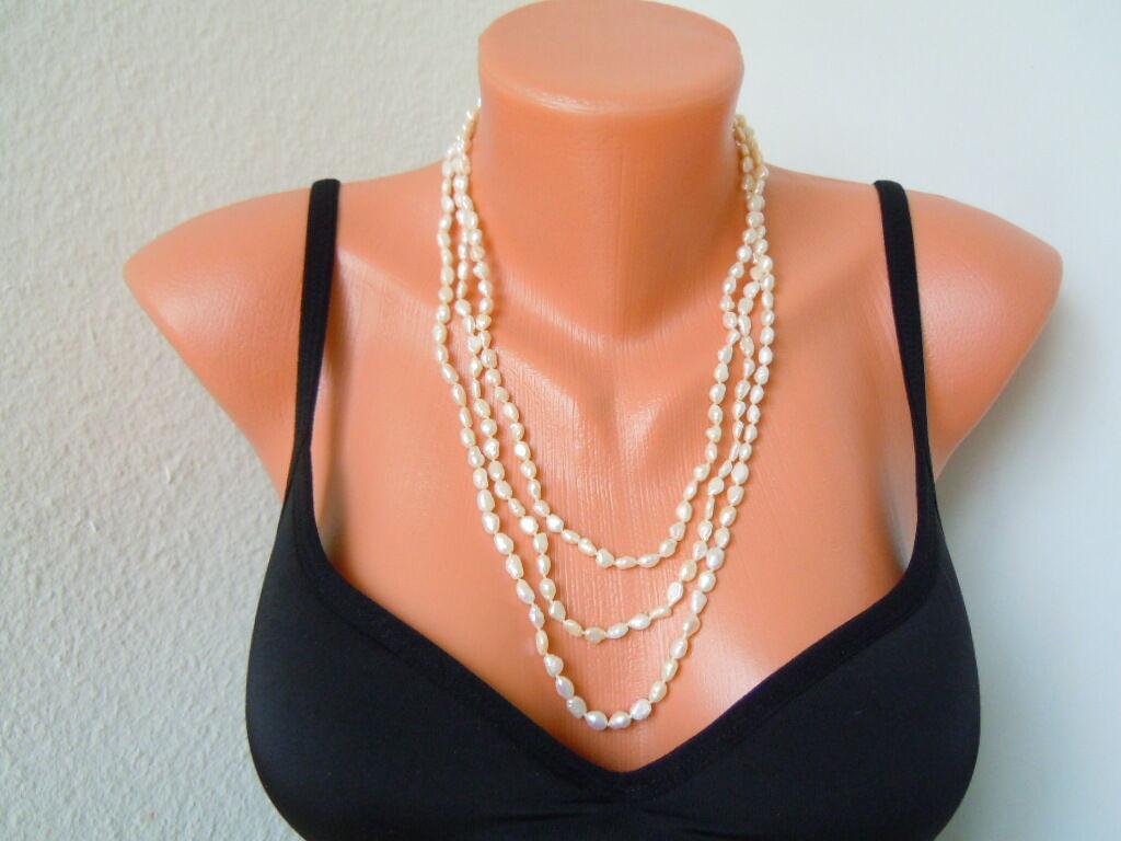 Lange Biwa Perlenkette Endloskette ohne Verschluß ca 168 cm   55,1 g