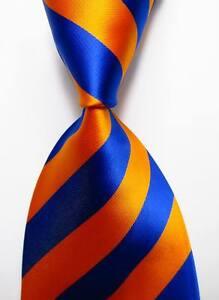 New-Classic-Striped-Orange-Blue-JACQUARD-WOVEN-100-Silk-Men-039-s-Tie-Necktie