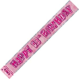 GLITZ-PINK-FOIL-BANNER-13TH-BIRTHDAY-HANGING-DECORATION-PARTY-SUPPLIES