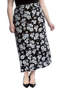 e694986b9f07e Details about New Women Plus Size Skirt Ladies Floral Print Maxi Style  Elastic Waist Soft Sale