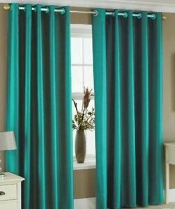 90 inch x 108 inch long teal faux silk fully lined eyelet curtains inch ring top ebay. Black Bedroom Furniture Sets. Home Design Ideas