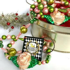 Details About Austrian Love Story Floral Rose Green Gold Blown Mercury Glass Christmas Garland