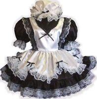 fern Custom Fit Black & White Satin Maid Adult Lg Sissy Dress & Cap Leanne