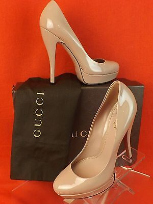 NIB GUCCI BEIGE PATENT LEATHER LISBETH PLATFORM CLASSIC PUMPS MPN 3099995 41.5