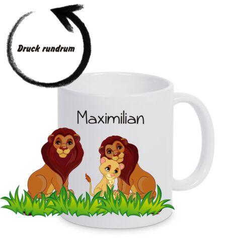 Kinderbecher bruchfest mit Namen Kindertasse Kunststoffbecher Tasse Löwenfamilie
