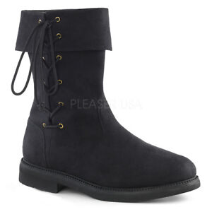 1-034-Stacked-Heel-Black-Renaissance-Faire-Ankle-Laced-Cuff-Boots-Cosplay-Mens-8-14