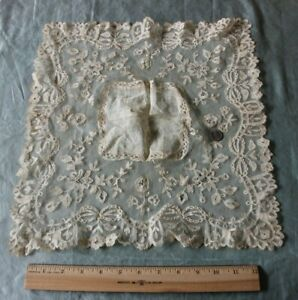 Antique-19thC-French-Heirloom-Handmade-Floral-Lace-Handkerchief-14-5-034-X14-034-Bridal