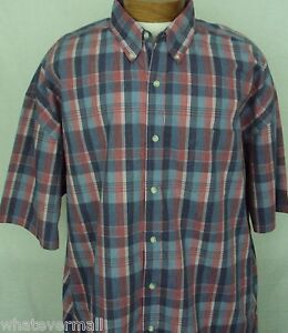 Big-and-Tall-Sport-Shirt-SS-Saddlebred-Casual-Mens-Cherry-Red-Plaid-NWT-New-2XLT