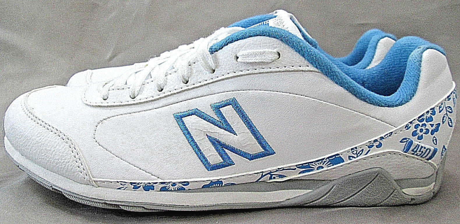 NEW BALANCE 450 Leather Walking Running shoes White bluee Floral Womens 7.5