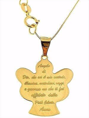 Collana Catenina Pendente Angelo Preghiera Donna Oro Giallo 18 Kt Carati Ct 750