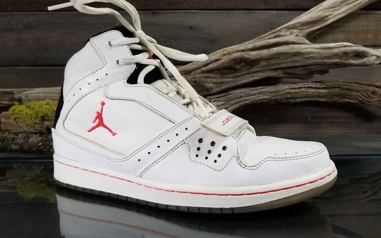 Nike Air Jordan 1 Flight Strap Strap Strap Mens Sz 9 White Red Basketball shoes 628584-123 0aecf5