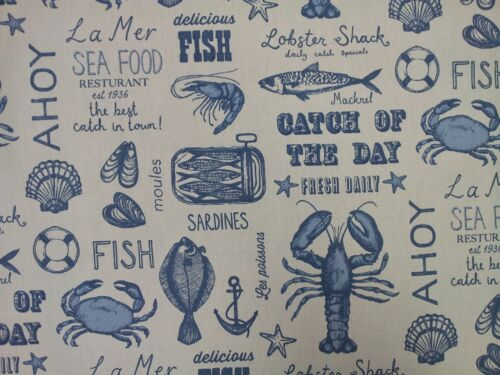 Clarke and Clarke Seafood Blue Fish Beach Curtain Craft Upholstery Fabric