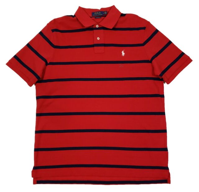 9bc6b4edf Polo Ralph Lauren Men's Red/Navy Stripe Classic Fit Mesh Short Sleeve Polo  Shirt