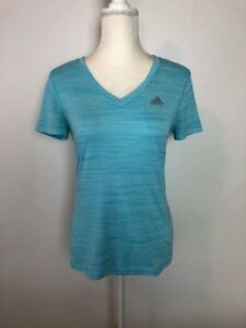 Adidas-Ultimate-Tee-Womens-Athletic-Top-Size-S-Blue-V-Neck-Short-Sleeve-Workout