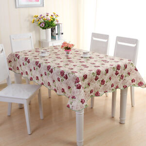 wipe clean pvc tablecloth dining kitchen table protector cover flowers decor new ebay. Black Bedroom Furniture Sets. Home Design Ideas